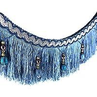 2yards trenzado cuentas colgantes bola borlas recorte floral tela recortar cinta banda cortina mesa boda decorado azul