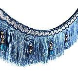 Stoffband, Läufer, 1,82 m geflochtene Perlen, hängende Kugelquaste, Fransenrand, Stoff mit Applikation - Vorhang, Tisch, Hochzeitsdeko blau