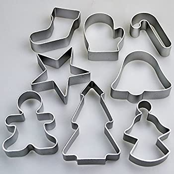 Set of 8 Christmas Cookie Cutters - Star Tree Angel Bell Stocking & More