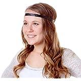 Hipsy Women's Adjustable NO SLIP Skinny Geo Sport Headband (Black)