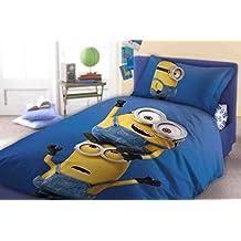 Minions cama infantil 140x 200cm almohada 70x 90cm azul