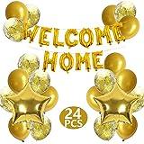 Bannière à la Maison de Bienvenue Welcome Home Lettre Ballon avec Ballons étoiles Paillettes pour Welcome Home Famille Décorations de Fête la Maison (Paquet de 24)