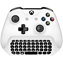 Xbox One S Teclado Mini Gaming Chatpad Mensaje de chat inalámbrico KeyPad con Audio / Headset Jack para Xbox One Elite y Slim Game Controller Gamepad - Receptor de 2.4 GHz incluido - Blanco