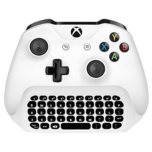 Xbox One S Chatpad Mini Gaming Tastatur Wireless Chat Nachricht KeyPad mit Audio / Headset Jack für Xbox One Elite & Slim Game Controller Gamepad - 2,4 GHz Empfänger enthalten -Weiß