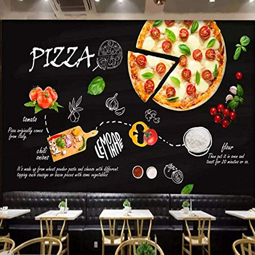 3D Vlies Fototapete Wallpaper Mural Western Restaurant Pizza Restaurant Front Hintergrund Wandmalerei Burger Shop Tee Shop Cafe Hintergrund Wanddekoration Tapete, 250 * 175 Cm