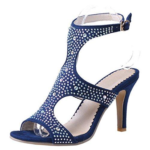 COOLCEPT Women Gladiator Cutout Sandalen Hochzeit Strass Pumps Schuh Blau