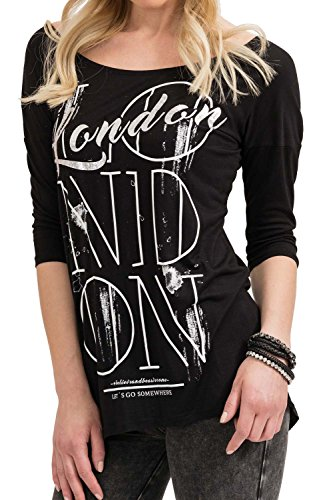 trueprodigy Casual Damen Marken Long Sleeve mit Aufdruck, Oberteil cool und stylisch mit Rundhals mit Knopfleiste (Langarm & Slim Fit), Langarmshirt für Frauen bedruckt Farbe: Schwarz 1073536-2999-L