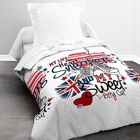 Today 015972 Happy Sneakers Parure de lit avec Housse de couette/Taie d'oreiller Coton Blanc/Bleu/Rouge 140 x 200