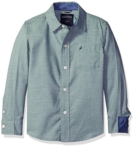 Nautica Little Boys Sailor Feeder Stripe Long Sleeve Woven Shirt With Chambray Trims, Green, Large/7 (Woven Sleeve Shirt Stripe Long)
