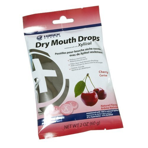Hager Pharma Dry Mouth Drops with Xylitol Cherry 26 EA - Buy Packs and SAVE (Pack of 5)