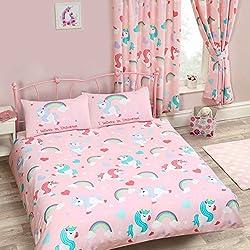 Juego de funda de edredón y funda de almohada con diseño de unicornios, color rosa