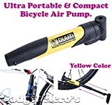#10: Gadget Hero's Mini Ultra Portable & Durable Bicycle Tire Pump With Cycle Mounting Kit For Convenience. Multifuntion Tyre Inflate & Tube Inflator. Also Can Be Used For Football Basketball & Other Inflatables. DUUTI Yellow.