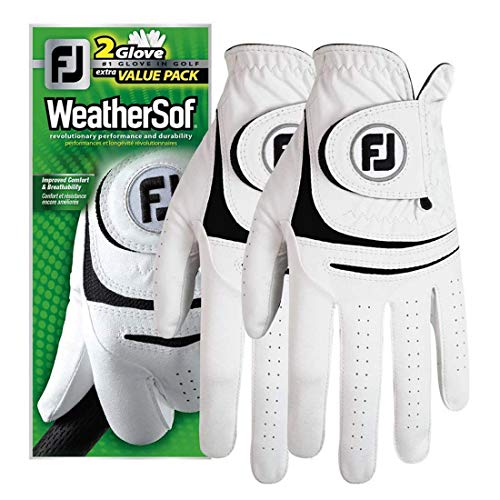 Footjoy Neue, verbesserte 2017 Golfhandschuhe WeatherSof Herren Golf Handschuhe (2Stück), weiß