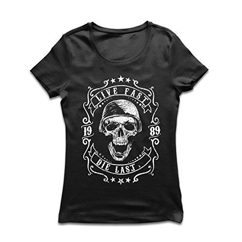 Frauen T-Shirt Lebe schnell - stirb zuletzt, Fahrradermine, Motorradbekleidung, Liebe zum Fahren, tolles Geschenk für Biker (XX-Large Schwarz Mehrfarben)