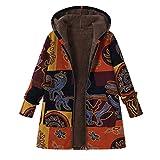 Bluelucon Damen Mantel Trenchcoat Lange Parka mit Kapuze Warmen Outwear Mode Locker Winter Lang Jacke Cardigan Dünn Wintermantel Große Größe