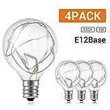 GlobaLink 4 Stück G40 LED Glühbirne Kupferdraht Glühlampe Ersatzbirnen E12 Innen/Außen Deko Lichtkette 2300K warmweiß