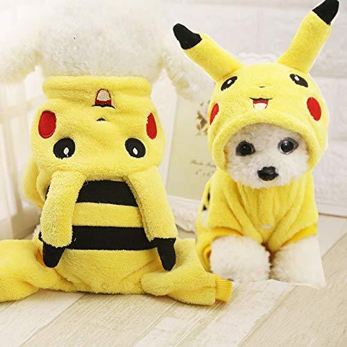 Pikachu Outfit - Nettes Pikachu Design Winter-Welpen-Kostüm Hund Katze