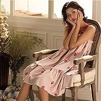 Pyjamas Sexy Rock Sling Mädchen Nachthemd Weibliche Sommer Nette Erdbeere Baumwolle Lose Wear Home Service Kleid GAOLILI