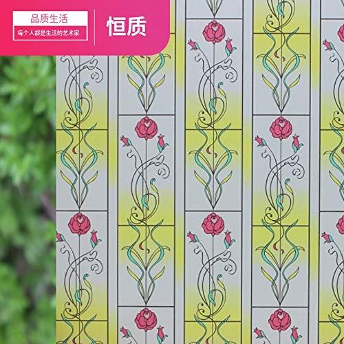 ZCHENG Fenêtre papier autocollants givrés autocollants givrés salle de bains lumière opaque salle de bains cellophane film occultant fenêtre film écran solaire, rose jaune vif 90 * 2 mètres