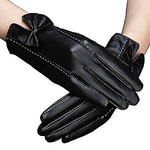 HaoLiao Handschuhe weich atmungsaktiv, lederwarm, Damenlederhandschuhe, Elegante Schwarz, Winter im Freien Verschiedene Aktivhandschuhe