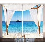 WKJHDFGB Balines Cortinas De Playa A Través De Una Cama Balinesa Sol De Verano Cielo Despejado Luna De Miel Natural SPA Imagen Sala De Estar Dormitorio Decoración,215X200Cm