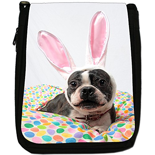 Boston Terrier Boston Bull Bosso Medium Nero Borsa In Tela, taglia M Boston Bull Wears Rabbit Ears