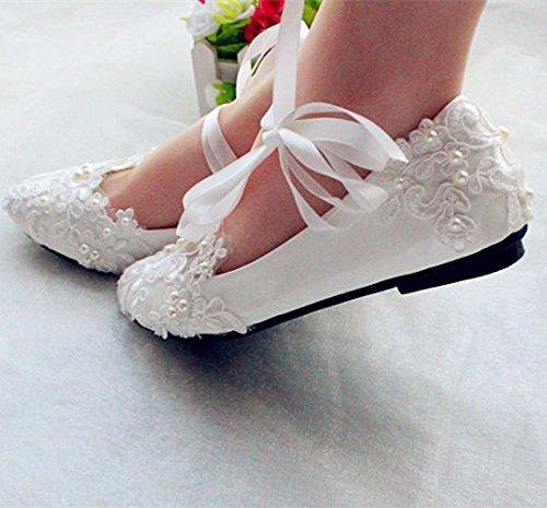 JINGXINSTORE Weiße Spitze satin band Hochzeit Schuhe pearl Bridal Wohnungen low High Heels Größe 6-10, uns 7,3 cm Keil -