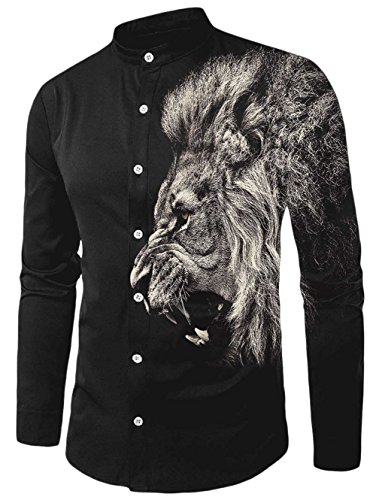 Chicolife Mens Black Lion Gesichts Entwurf Slim Fit Hip Hop Langarm - Button - Down - Kleid Hemd Kühle Kleidung