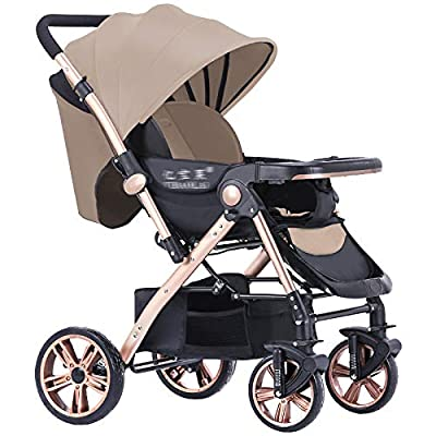 RUMIAO Baby Pushchair, Four WheelFoldableAdjustableTwo WayShock Absorber Infant Pram + [windproof Foot Cover],Brown