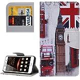 HUAWEI CASE COVER Funda de piel de patrón Huawei Y5 II Ojos con portador y ranuras para tarjetas y cartera ( SKU : MLC0777E )