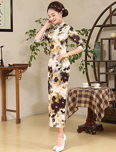 Luck Femmes Longue Cheongsam Qipao Robe Style Chinois en Polyester Couleur1