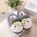 YuFLangel Baumwollpantoffeln Baby-Winter-Tasche mit Hefterzufuhren Home Sojasprossen Nette warme Innen Kleine Kinderpantoffeln (Farbe : Grau, Größe : 26-27)