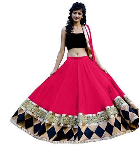 lehenga (Women\'s Clothing Lehenga For Women Latest Design Wear Lehengas Collection in Green Coloured Georgette Material Latest Lehenga With Designer Blouse Free Size Beautiful Bollywood Lehenga For W