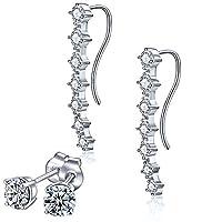 Rhinestone Drop CZ Stud Earrings Set,Silver Plated Zirconia Crawler Climber Cuffs Earrings for Women
