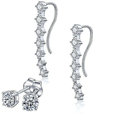 Rhinestone Drop CZ Stud Earrings Set,Silver Plated Zirconia Crawler Climber Cuffs Earrings for