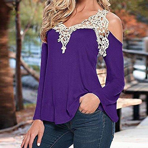Femmes Sexy hors épaule Top à manches longues printemps Casual Lace Tops Blouse T Shirt Highdas Violet