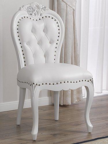 Simone Guarracino Silla Amalia Estilo Barroco Moderno Color Blanco Lacado Hoja Plata Eco-Piel Blanca...