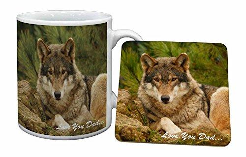 Advanta - Mug Coaster Set Wild Wolf 'Love You Dad' Becher und Untersetzer Tier Geschenk Wolf Coaster Set