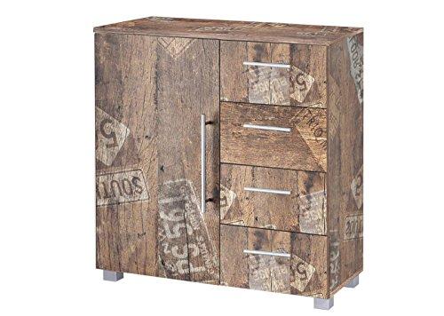 Kommode, Anrichte, Sideboard, Schubkastenkommode, Schubladenkommode Panamaeiche, Vitage, B/H/T ca. 81,5/83/35 cm