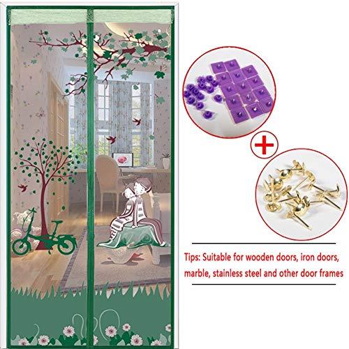 LQ&XL Cortina Mosquitera para Puertas El Verano,Tejido Súper Fino para Dejar Pasar El Aire,Apagar Automáticamente Fácil de Ensamblar Dormitorio Terraza,GreenA,100X200cm/39x79in