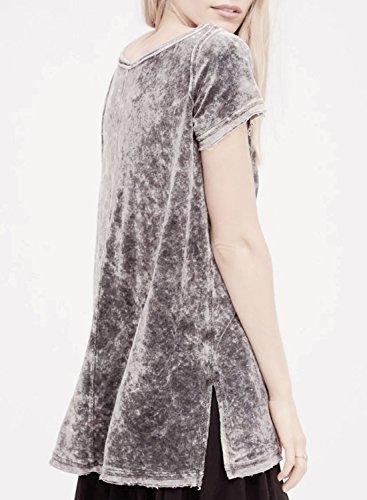 ACHICGIRL Women's Round Neck Short Sleeve Velvet Blouse Grey