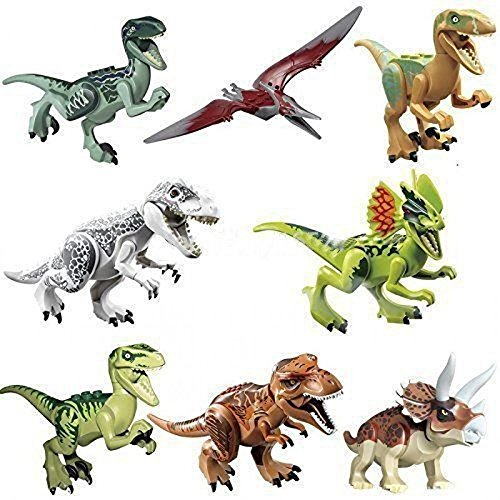 8x Dinosaurs World Brick Blocks: Rex T-Rex Pteranodon Raptor CJ451 by Magic show