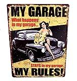 LB H&F Blechschild Blech Metallschild Werkstatt Auto Frau 35 x 25 cm (My Garage)