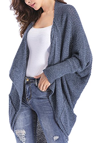 ClasiChic damen Strickjacke Irregulär Cardigan Asymmetrisch Langarm Loose Pullover mit Taschen (grau, xl)