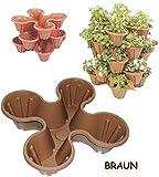 alles-meine.de GmbH 3 Stück _ Blumentöpfe - Braun - für 4 Pflanzen - STAPELBAR - Blumenkübel / aus..