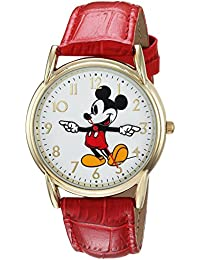 Disney Men's 'Mickey Mouse' Quartz Metal Casual Watch, Color:Red (Model: WDS000407)