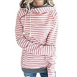 Hanomes Damen pullover, Frauen Herbst und Winter Streifen-Panel-Strickjacke Tasche Bluse PK/XL