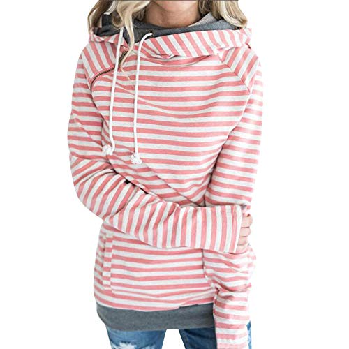 Wwricotta Women Autumn and Winter Striped Panel Hoodie Sweater Pocket Blouse