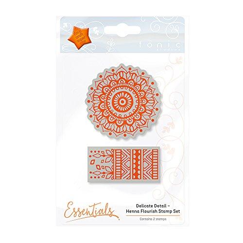 Tonic Studios Delicate Detail - Henna Flourish Stamp Set, Other, Orange, 6.1 x 6.1 x 1.0 cm