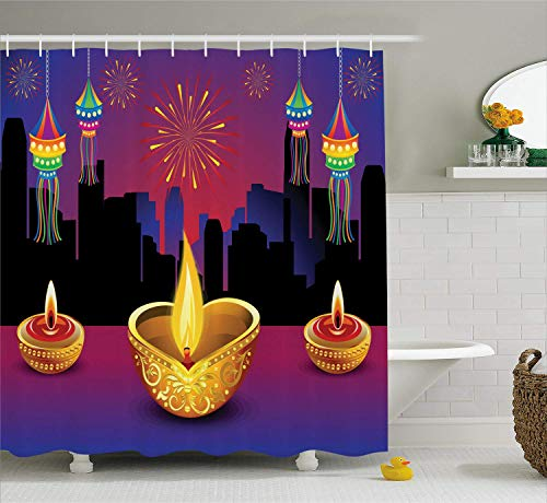 ZKHTO Diwali Decor Shower Curtain, Happy Diwali Festive Quote with Cartoon Like Abstract Image and Flowers, Fabric Bathroom Decor Set with Hooks, Pink and Yellow,60 X 72 Inches